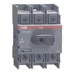 Рубильник OT125F3 до 125А 3х полюсный для установки на DIN-рейку или плату (с резервной ручкой)