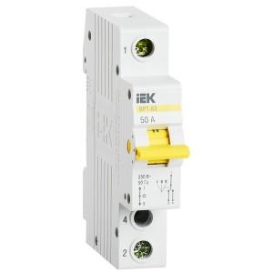 Выключатель-разъединитель трехпозиционный ВРТ-63 1P 50А IEK 1 модуль