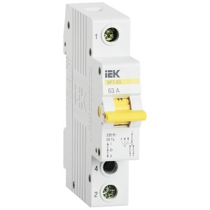 Выключатель-разъединитель трехпозиционный ВРТ-63 1P 63А IEK 1 модуль