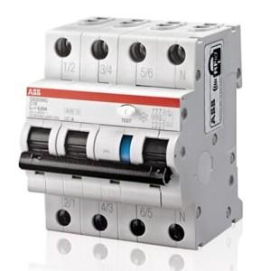 Дифференциальный автомат ABB 4-полюсный DS203NC C10 AC 300мА 6кА  4 модуля