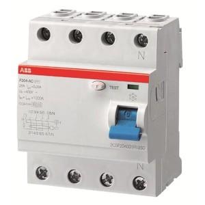 УЗО ABB F204 AC-100/0,5 4-х полюсное тип AC 100A 500mA 4 модуля
