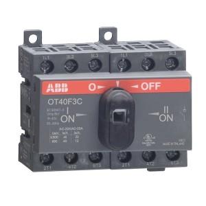 Реверсивный рубильник OT16F4C до 16A 4х полюсный для установки на DIN-рейку или плату (c ручкой)