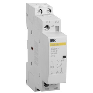 Контактор модульный КМ20-20М AC 20А 2 полюса 2НО катушка 220В ИЭК 1 модуль