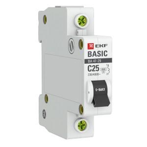 Автоматический выключатель 1P 25А (C) 4,5кА ВА 47-29 EKF Basic (автомат)