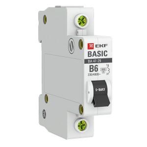 Автоматический выключатель 1P 6А (B) 4,5кА ВА 47-29 EKF Basic (автомат)
