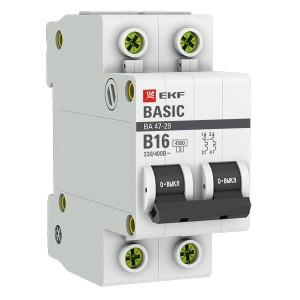 Автоматический выключатель 2P 16А (B) 4,5кА ВА 47-29 EKF Basic (автомат)