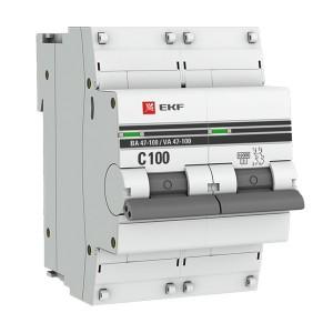 Автоматический выключатель 2P 100А (C) 10kA ВА 47-100 EKF PROxima (автомат)