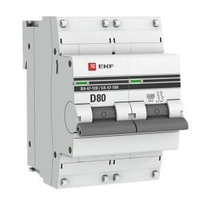 Автоматический выключатель 2P  80А (D) 10kA ВА 47-100 EKF PROxima (автомат)
