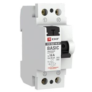 Устройство защитного отключения УЗО ВДТ-40 2P 16А/ 30мА (электронное) тип АС EKF Basic