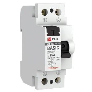 Устройство защитного отключения УЗО ВДТ-40 2P 25А/ 30мА (электронное) тип АС EKF Basic