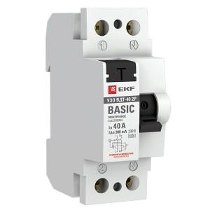 Устройство защитного отключения УЗО ВДТ-40 2P 40А/300мА (электронное) тип АС EKF Basic