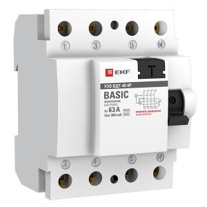 Устройство защитного отключения УЗО ВДT-40 4P 63А/300мА (электронное) тип АС EKF Basic