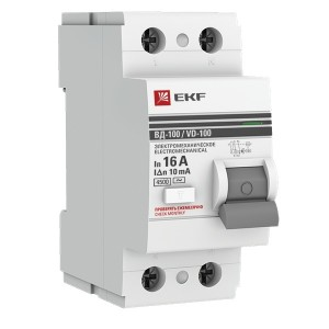 Устройство защитного отключения УЗО ВД-100 2P  16А/ 10мА (электромеханическое) АС EKF PROxima