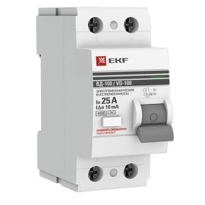 Устройство защитного отключения УЗО ВД-100 2P  25А/ 10мА (электромеханическое) АС EKF PROxima