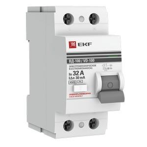 Устройство защитного отключения УЗО ВД-100 2P  32А/ 30мА (электромеханическое) АС EKF PROxima
