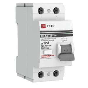 Устройство защитного отключения УЗО ВД-100 2P  32А/100мА (электромеханическое) АС EKF PROxima
