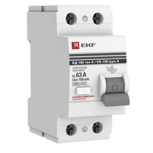 Устройство Защитного Отключения ВД-100 2P 63А/100мА (электр, тип А) EKF PROxima