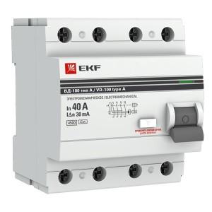 Устройство Защитного Отключения ВД-100 4P 40А/ 30мА (эл-мех, тип А) EKF PROxima