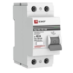 Устройство защитного отключения селективное 2P  40А/100мА (электромеханическое) АС EKF PROxima