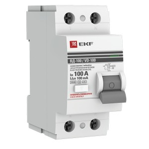 Устройство защитного отключения селективное 2P 100А/100мА (электромеханическое) АС EKF PROxima