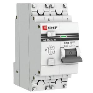 Дифференциальный автомат АД-32 1P+N 10А/30мА (хар. C, AC, электронный, защита 270В) 4,5кА EKF PROxim