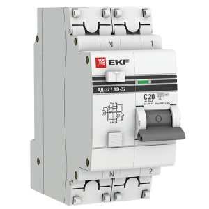Дифференциальный автомат АД-32 1P+N 20А/30мА (хар. C, AC, электронный, защита 270В) 4,5кА EKF PROxim