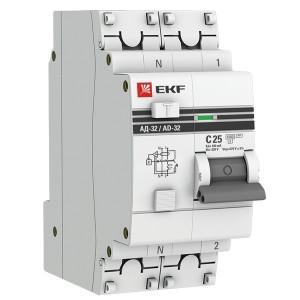 Дифференциальный автомат АД-32 1P+N 25А/100мА (хар. C, AC, электронный, защита 270В) 4,5кА EKF PROxi