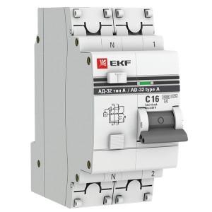 Дифференциальный автомат АД-32 1P+N 16А/10мА (тип А) EKF PROxima