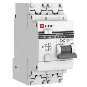 Дифференциальный автомат АД-32 1P+N 40А/30мА (тип А) EKF PROxima