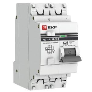 Дифференциальный автомат АД-32 (селективный) 1P+N 25А/100мА С тип АС EKF PROxima