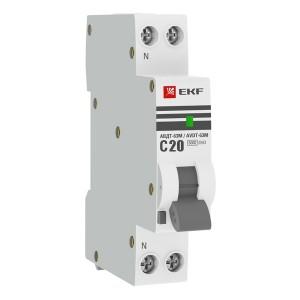 Дифференциальный автомат АВДТ-63М 20А/10мА (1модуль.C, электронный тип AС) 6кА EKF PROxima