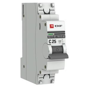Автоматический выключатель 1P 25А (C) 4,5kA ВА 47-63 EKF PROxima (автомат)