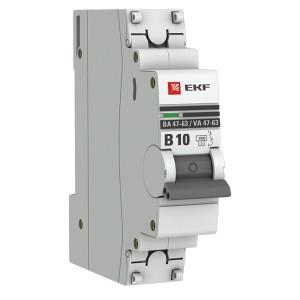 Автоматический выключатель 1P 10А (B) 4,5kA ВА 47-63 EKF PROxima (автомат)