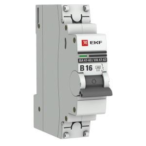 Автоматический выключатель 1P 16А (В) 4,5kA ВА 47-63 EKF PROxima (автомат)