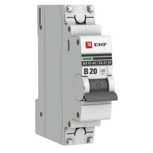 Автоматический выключатель 1P 20А (В) 4,5kA ВА 47-63 EKF PROxima (автомат)