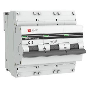 Автоматический выключатель 3P  16А (C) 10kA ВА 47-100 EKF PROxima (автомат)
