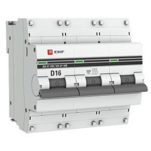 Автоматический выключатель 3P  16А (D) 10kA ВА 47-100 EKF PROxima (автомат)