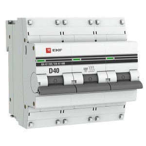 Автоматический выключатель 3P  40А (D) 10kA ВА 47-100 EKF PROxima (автомат)