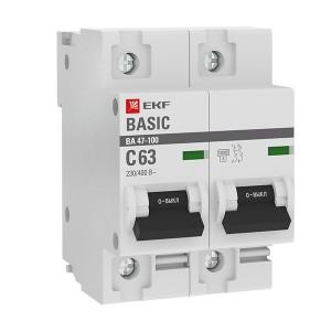 Автоматический выключатель 2P 63А (C) 10kA ВА 47-100 EKF Basic (автомат)