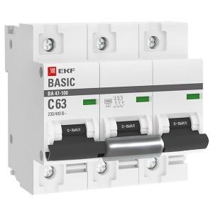 Автоматический выключатель 3P 63А (C) 10kA ВА 47-100 EKF Basic (автомат)