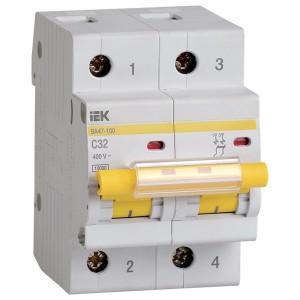 Автоматический выключатель ВА 47-100 2Р 32А 10 кА характеристика С ИЭК (автомат)