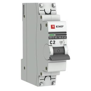 Автоматический выключатель 1P 2А (C) 4,5kA ВА 47-63 EKF PROxima (автомат)