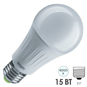 Лампа светодиодная низковольтная Navigator 61 441 NLL-A60-15-127-4K-E27 15W 127V 4000K D60x124mm