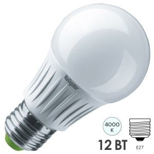 Лампа светодиодная низковольтная Navigator 61 665 NLL-A60-12-127-4K-E27 12W 127V 4000K D60x120mm