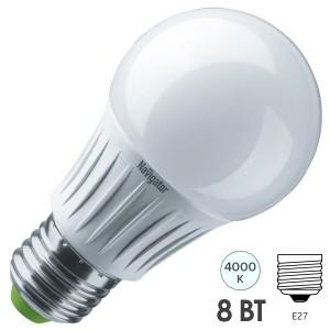 Лампа светодиодная Navigator 61 384 NLL-A60-8-230-4K-E27-DIMM 8W 4000K 680Lm D55x105mm