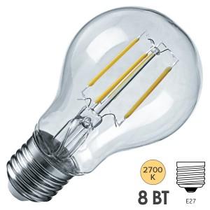 Лампа светодиодная Navigator 61 623 NLL-F-A60-8-230-2.7K-E27-DIMM 8W 2700K 800Lm D60x105mm