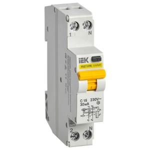 Дифференциальный автомат одномодульный АВДТ32МL С16А  30мА тип АС 6 кА KARAT ИЭК