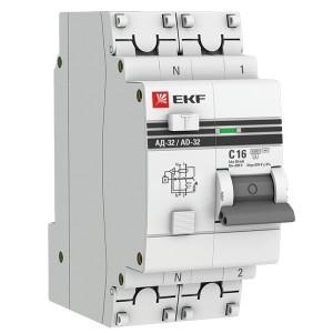Дифференциальный автомат АД-32 1P+N 16А/30мА (хар. C, AC, электронный, защита 270В) 4,5кА EKF PROxim