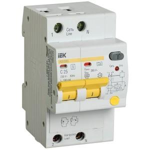 Дифференциальный автоматический выключатель селективный АД12MS 2P C25 100мА тип А 4500кА ИЭК (автомат)