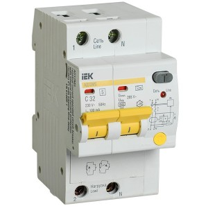 Дифференциальный автоматический выключатель селективный АД12MS 2P C32 100мА тип А 4500кА ИЭК (автомат)